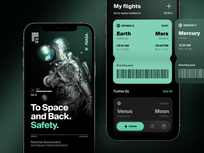 Space Tourism App Concept ui ux mobile wallet mercury traveling to mars online flights wallet space tourism space app dark mode space tickets
