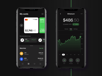 Crypto Investment Wallet interface coins startup ui ux dark mode nft app trading app trade crypto exchange business tool blockchain investment btc tokens financial banking crypto wallet crypto currency bitcoin wallet wallet ethereum