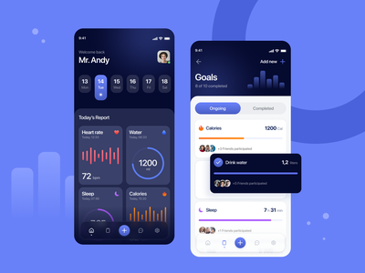 Fitness Management App healthy lifestyle healthcare fitness goals calories sleep water ui design dashboard clean mobile app ios report health rate