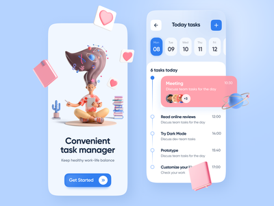 Convenient Task Manager water balance planning todo progress 3d ui clean calendar organized to-do daily task project manager management app app mobile todo list work life balance task manager
