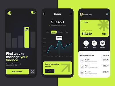 User-friendly Modern Banking request money app visa wallet banking card ux ui security manage finance bank mobile app transactions finance fintech banking online