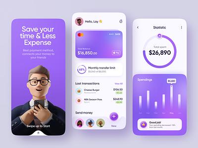 Finance Mobile App transfer money spendings visa wallet banking card security manage finance bank mobile app transactions finance fintech ui mobile app ios online banking