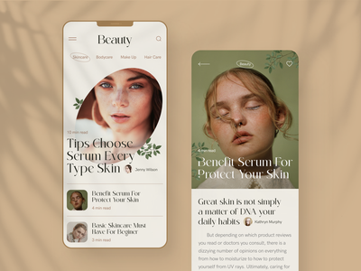 Online Fashion Magazine ux article shadows face care body care concept skincare cosmetic skin product brand identity identity beauty woman health fashion media online magazine mobile app soft