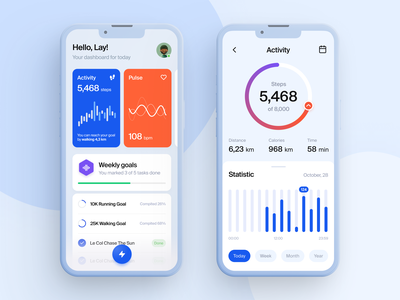 Health Tracking App medical progress heart rate ux ui tracker activity goals walk running stats graph pulse dashboard cardio fitness wellness sport calories medicine health care