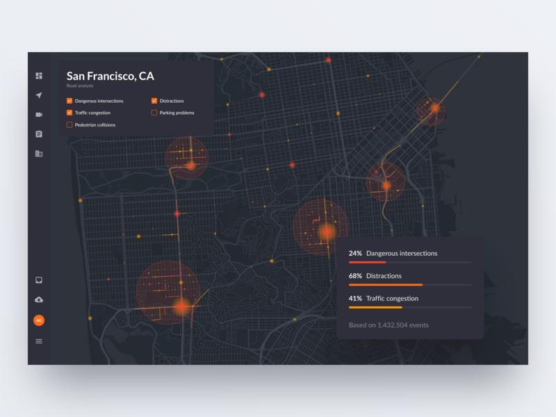 Road accidents map clean interface orange auto automotive dark web map