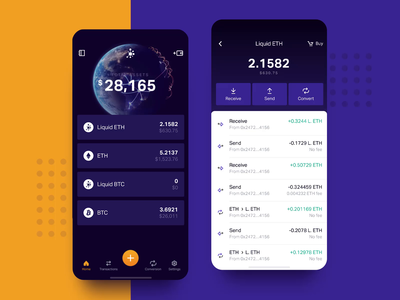 Liqiudity — app for cryptocurrency transfers transactions list planet blue dark violet wallet cryptocurrency app ios