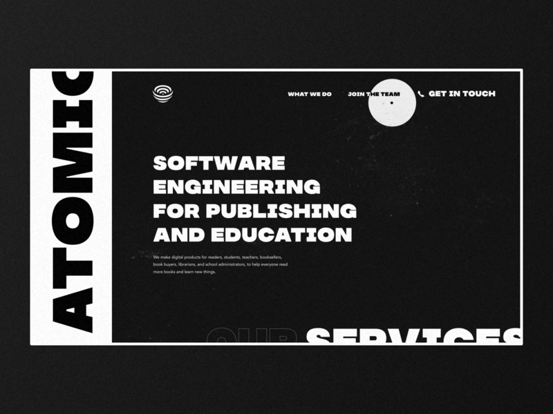 Software engineering company landing page bold typography ui ux design clean landing page white black