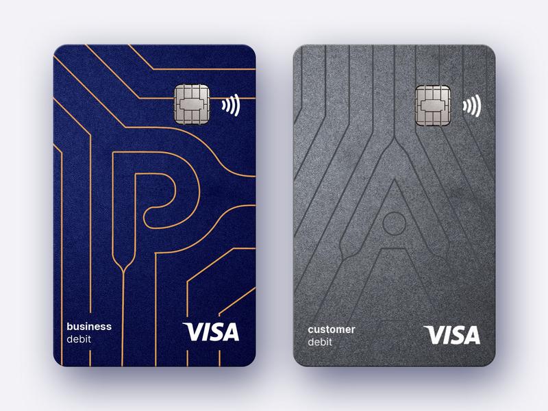 Card branding for fintech company embossed grey aseets branding card design finance banking bank blue fintech card