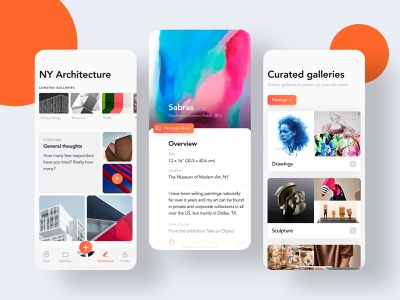App for artists and galleries new york overview dashboard cards paintings gallery artist clean white orange ios