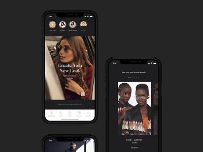 Fashion app feed stories instagram promo feed photos fashion white dark mobile ios