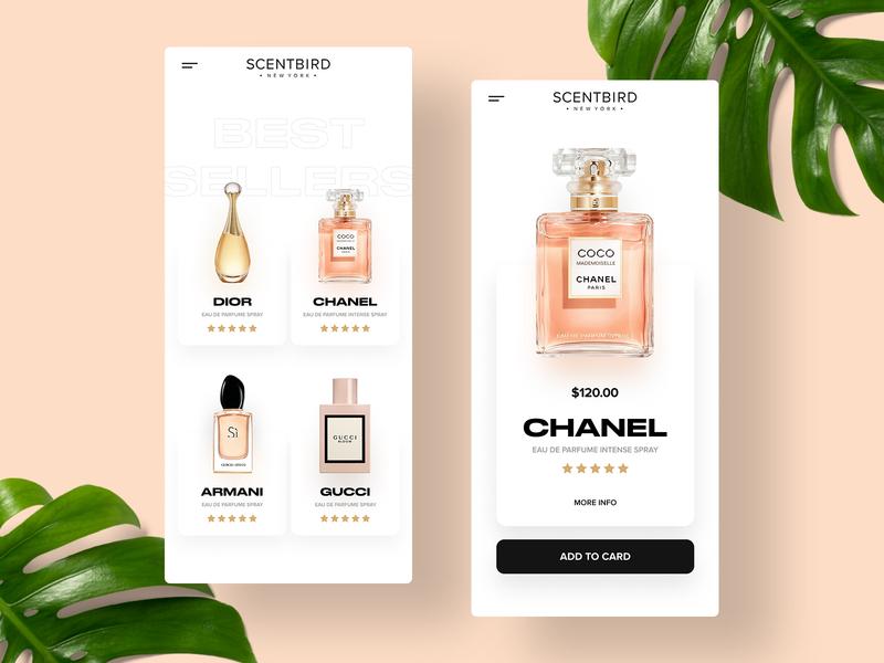 Fragnances eshop design white buy gucci armani chanel frangances scents shop ecommerce eshop clean ios mobile