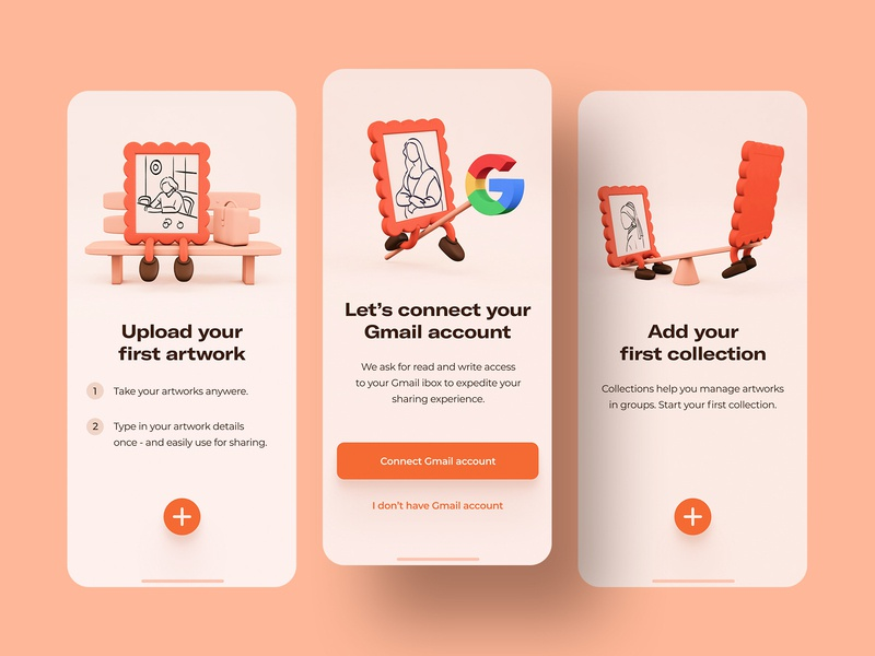 App for artists and galleries – on-boarding ios orange white clean artist gallery paintings cards dashboard overview new york