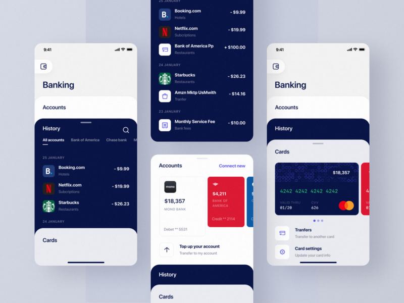 Banking app branding home menu cards red blue account money fintech banking bank app mobile ios