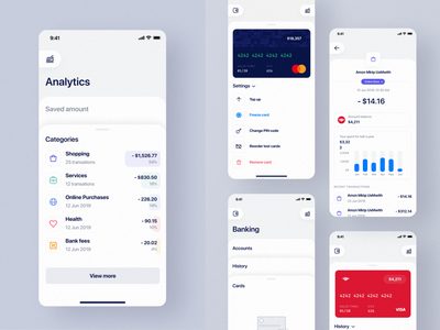Job Service Analytics list categories expenses cards red white blue clean dashboard android mobile ios
