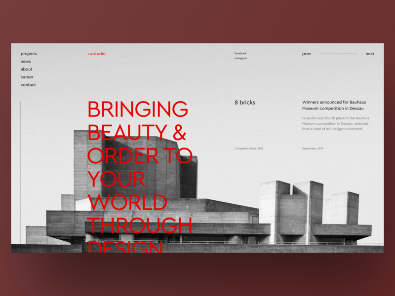 Main Page for Design studio museums red landing page web promo studio main page website typography design clean