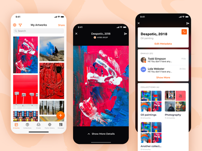 App for artists and galleries – gallery view new york overview dashboard cards paintings gallery artist clean white orange ios