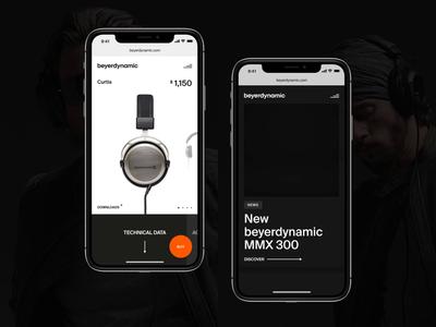 Beyerdynamic mobile website concept newsfeed ui black clean design products page animation dark headphones adaptive website mobile