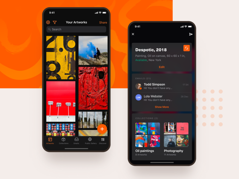 Dark theme App for artists and galleries storage description details museum paintings gallery artist dark theme dark mode dark app dark ui dark ios