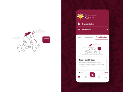 official mobile app for Qatar MoFA travelling meetings trips dashboard app mobile white ios