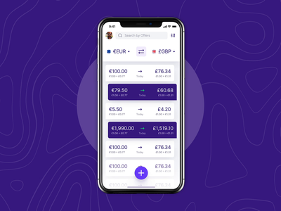 Dark mode for marketplace for free exchange purple transfers money currency exchange marketplace fintech dashboard mobile app dark mode dark white ios