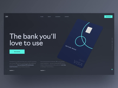 Neon card animation on a welcome page