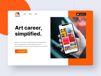 Homepage for App for Artists and Galleries webdesign artworks galleries artists homepage website orange white