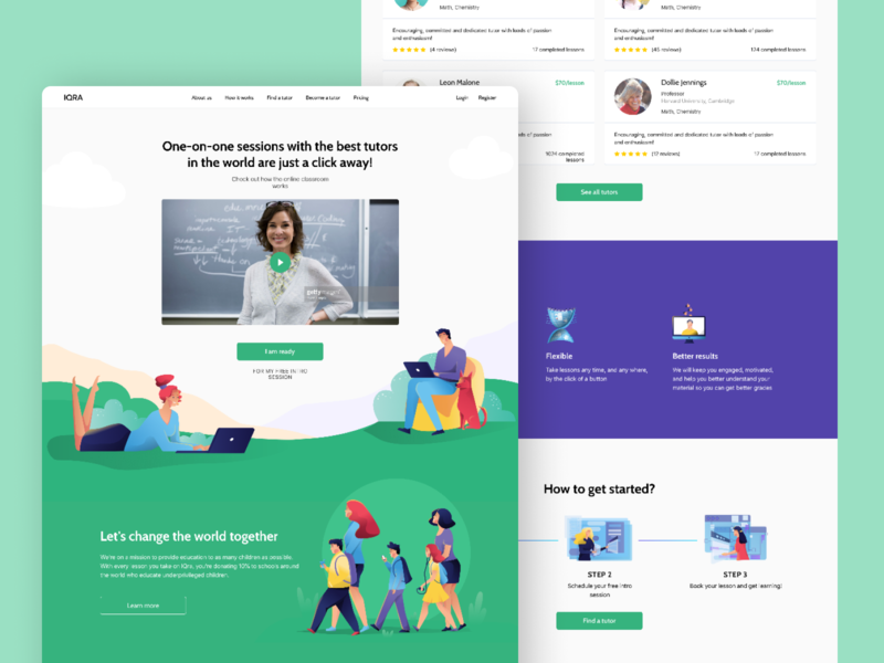 Landing Page Designed to Convert Leads from SMM Campaigns landing page design smm leads online education students lessons classes illustration green white clean user research cjm landing page webdesign ux website landing