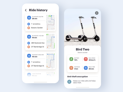 Electro scooter rent app ui details map rental mobile rent app design scooters renting history rental app rent white clean ios