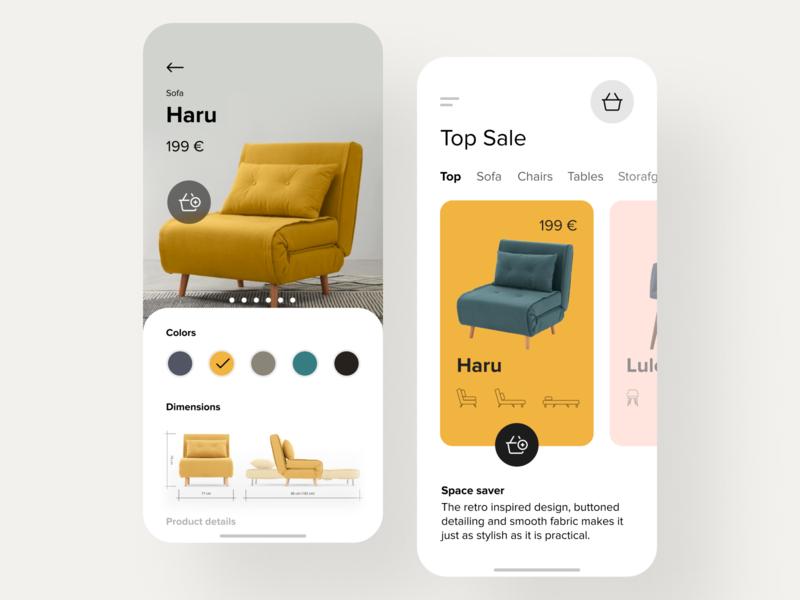 E-commerce app for furniture store item card ecommerce design shop furniture store furniture app furniture app clean white ios mobile ecommerce app ecommerce
