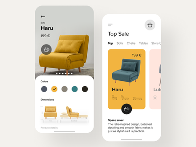 E-commerce app for furniture store item card ecommerce design shop furniture store furniture app furniture app clean white ios mobile ecommerce app ecommerce