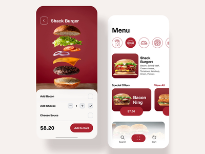 Restaurant App cart custom editing order order menu app burgers cafe restaurant red ios white