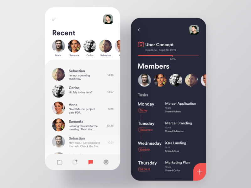 Project Management App project planning messages collaboration team project management tool project managment task management task manager task list tasks app ios dark white