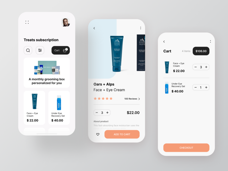 Beauty Mobile Shop checkout cart product order ecommerce shop ecommerce app ecommerce beauty product beauty typography design cards app mobile clean ios white