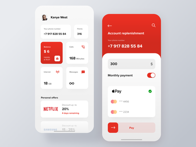 Vodafone Mobile App Concept cellular iphone payment summary analytics dashboard mobile app red ios white