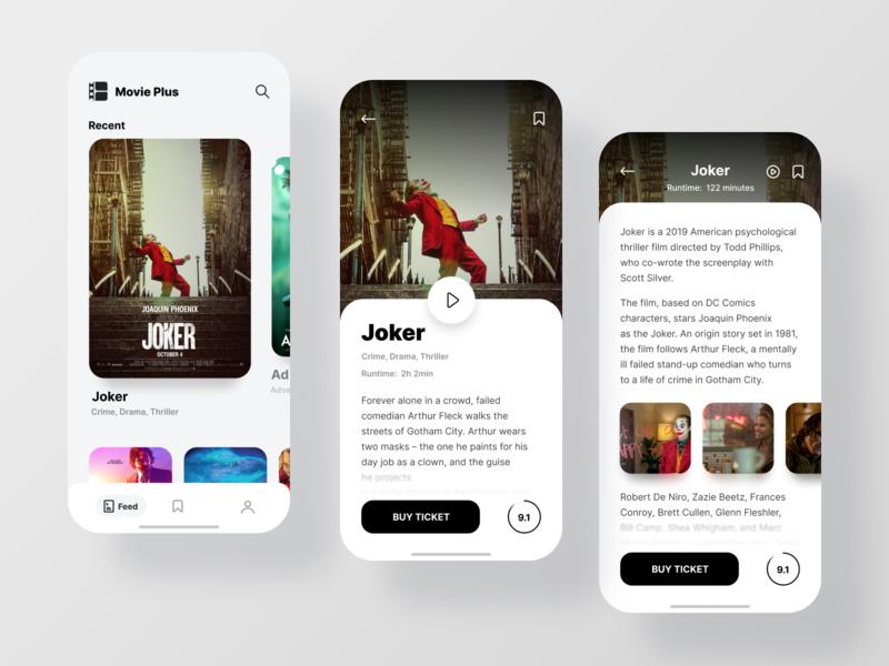 Movies App cinema ui grid popular feed tickets movies app movies movie description details design app mobile clean ios white