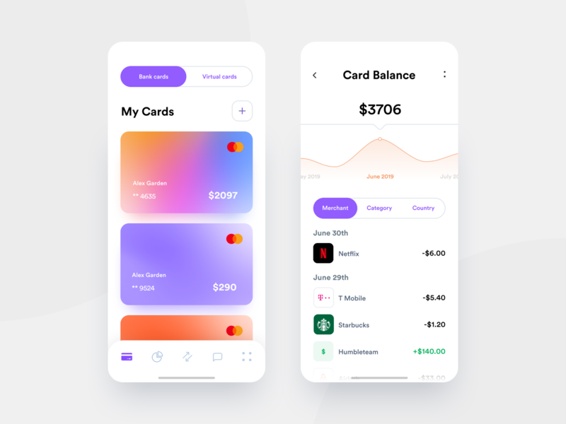 App for all your cards history transactions analytics graphic balance virtual card bank card cards banking banking app bank app mobile clean ios white