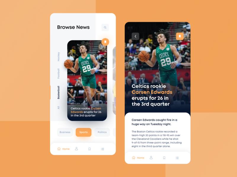 News App to be up-to-date feed dashboard sportnews sports business politics basketball news app news feed newsfeed news orange white clean ios