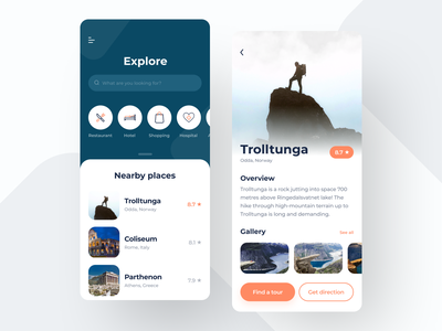 Travel app – explore dashboard and place details design app mobile white ios shops restaurants hotels places tours tour travel app traveling travel