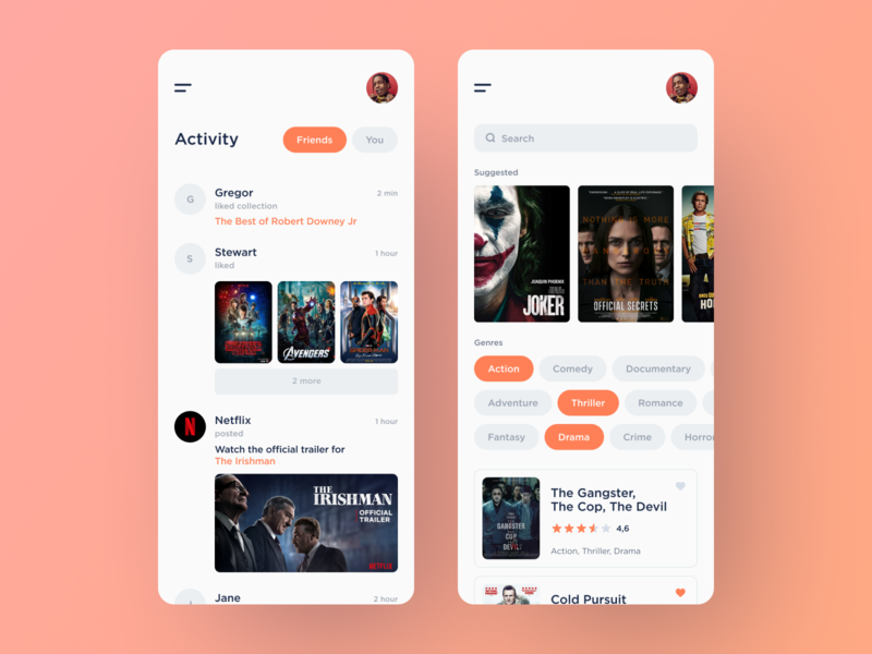 Social Movie Experience App genres suggested tv shows tv show film films feed movies movie ui search app clean mobile white ios