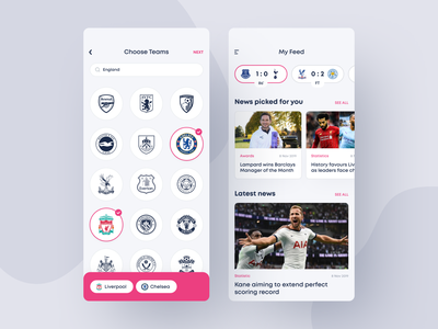 Sport News App subscription favorite team football ux typography illustration logo my feed feed favorites dashboard app mobile white ios