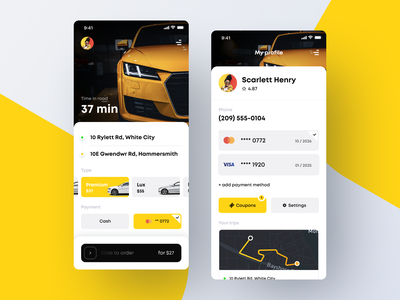 Taxi Mobile App ui route my profile taxi driver taxi booking taxi booking app taxi app taxi order app clean mobile white ios