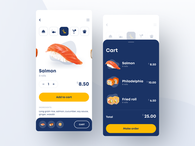 Restaurant App ecommerce app ecommerce cart order food app food cafe menu app menu restaurant sushi app sushi app white mobile ios