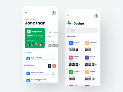 File Manager App file sharing file management folders projects file manager files dashboard app clean white mobile ios