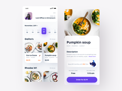 Food Delivery App food and drink purple white mobile app ecommerce design ecommerce ecommerce app delivery app meal planner meals meal food app food ios