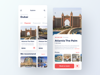 Accommodation Booking App accommodation product card holiday hotel hotels explore search ui design clean app mobile white ios