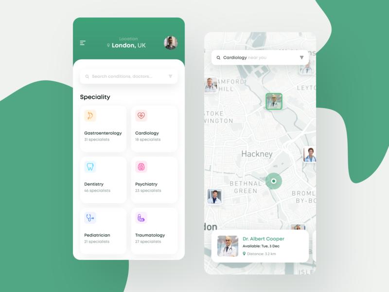 Find your Doctor App health app healthcare health hospital clinics clinic doctor app doctors doctor ui design clean app mobile white ios
