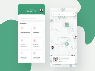 Find your Doctor App health app healthcare health hospital clinics clinic doctor app doctors doctor ui design clean app mobile white ios