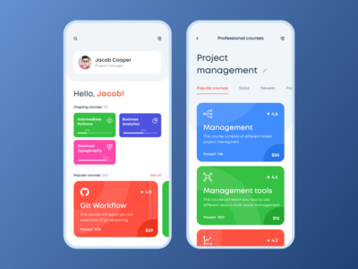 Courses dashboard for iOS app
