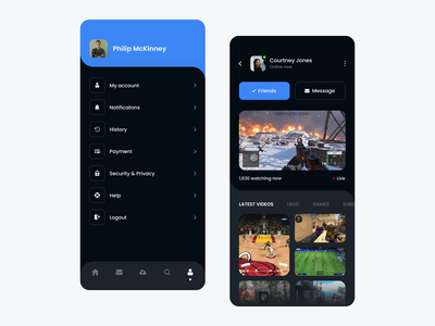 Game Streaming App live streaming streaming app streaming profile design profile card profile page product design gaming esport esports games profile ui design dashboard dark app mobile ios