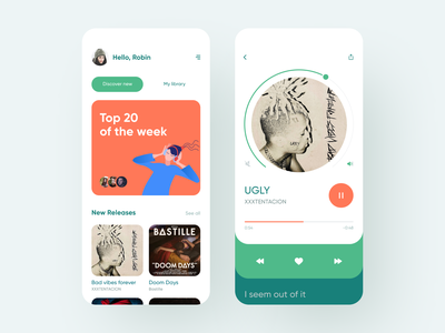 Music Player App music streaming online player music player music app music design ui dashboard clean app mobile white ios